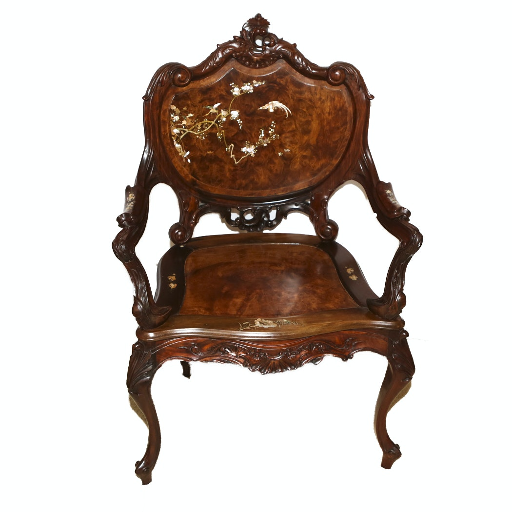 French Influence Carved Sandalwood Mother Of Pearl Side Chair