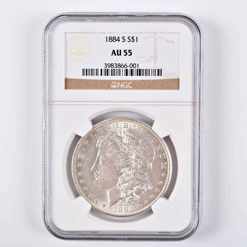 Graded AU 55 (By NGC) 1884-S Morgan Silver Dollar