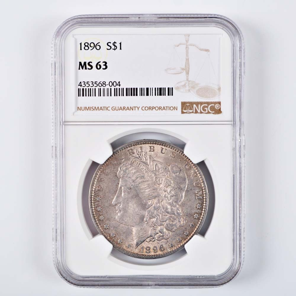 Graded MS 63 (By NGC) 1896 Morgan Silver Dollar