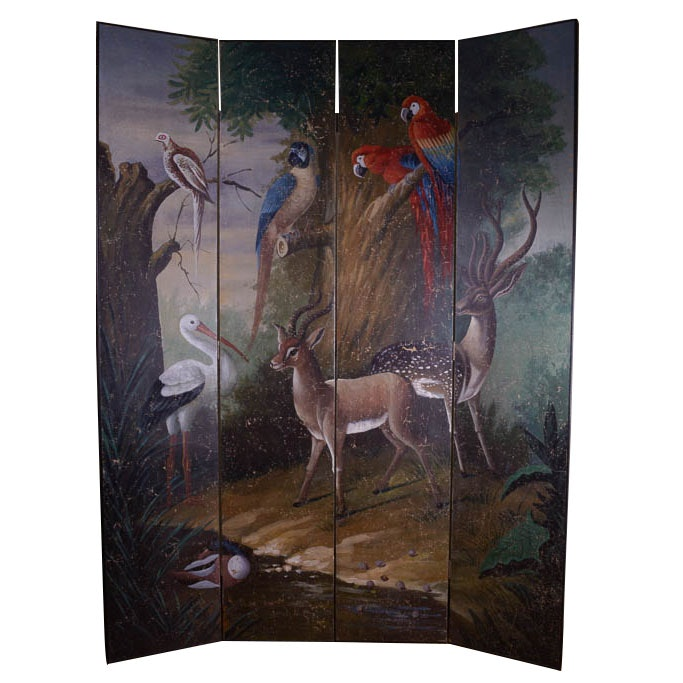 Vintage Hand-Painted Animal Theme Room Divider