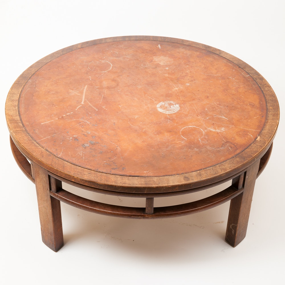 Vintage Coffee Table With Leather Top By Henredon Ebth