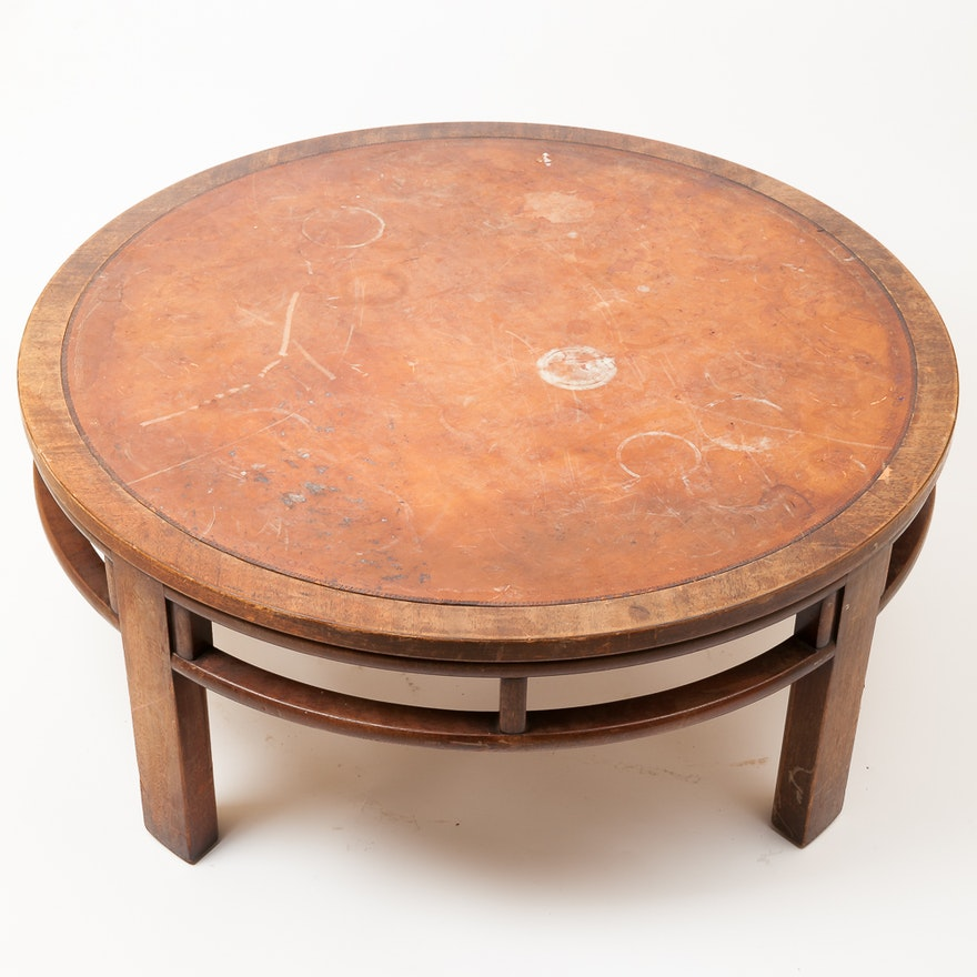 vintage coffee table with leather top by henredon - Leather Top Coffee Table