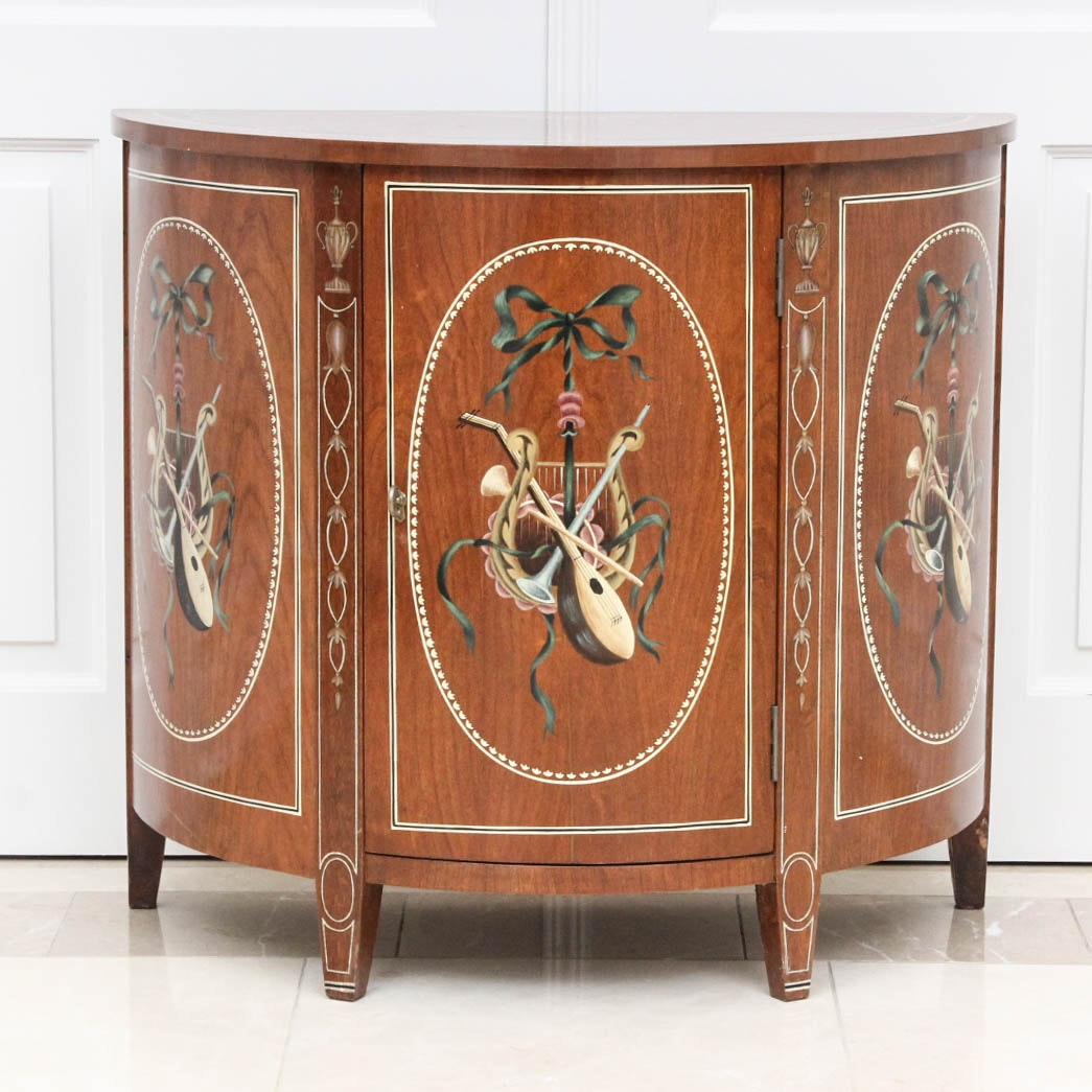 Vintage Hand Painted Cherry Demilune Cabinet ...