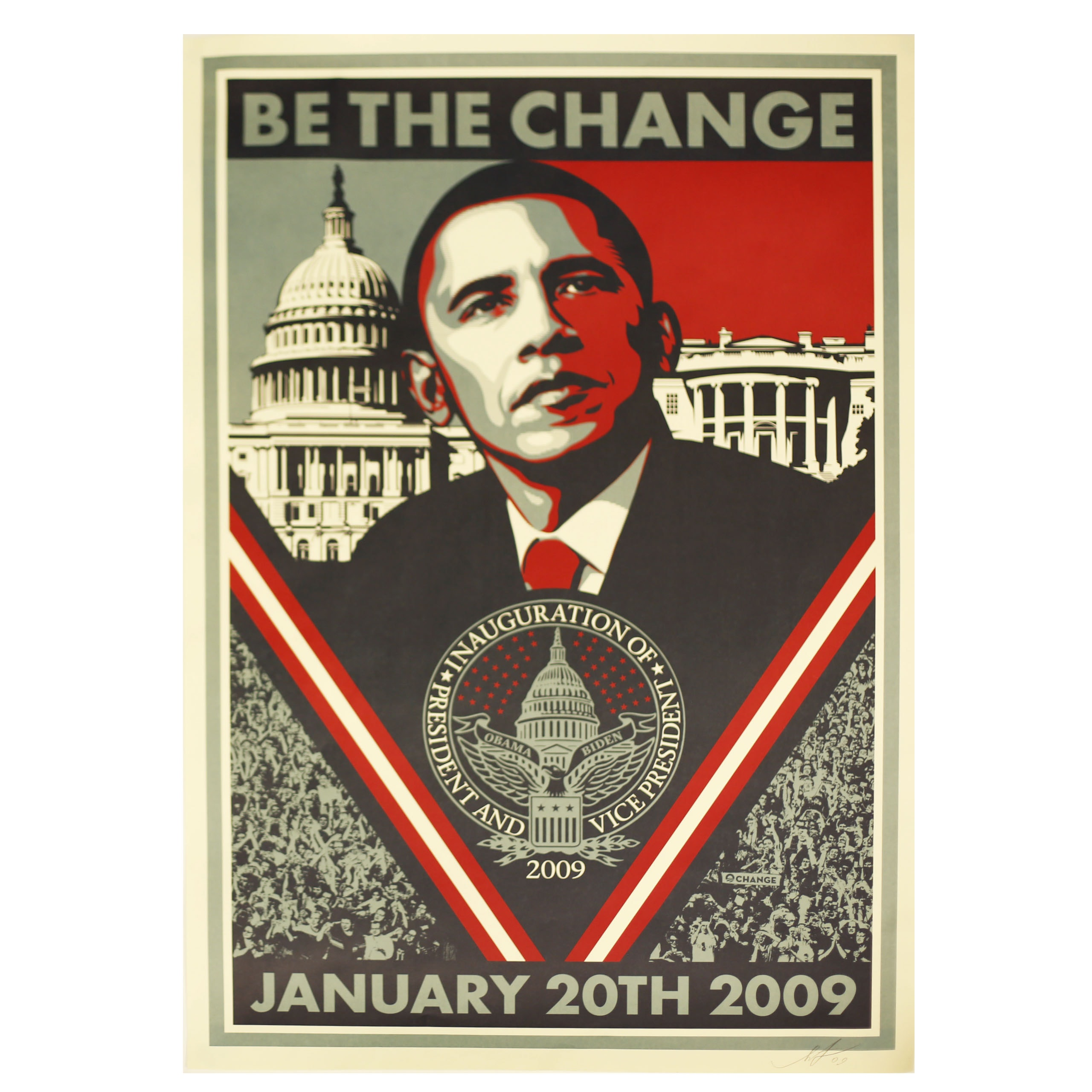 """Shepard Fairey Signed 2009 """"Be The Change"""" Poster"""