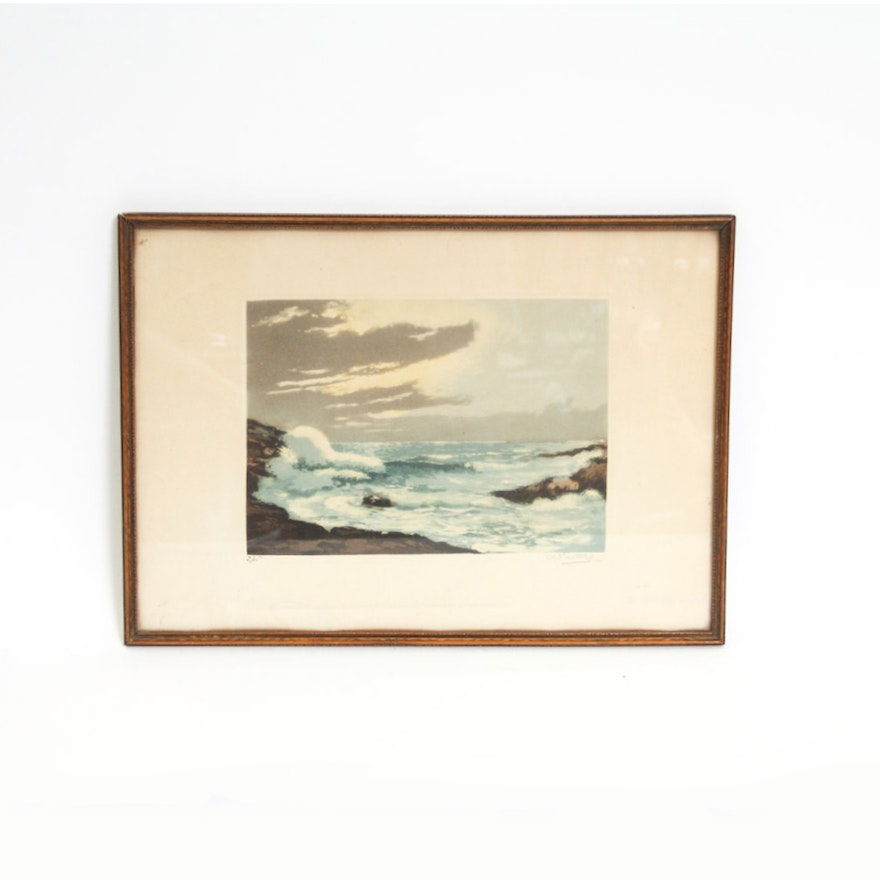 Colored Etching of a Seascape