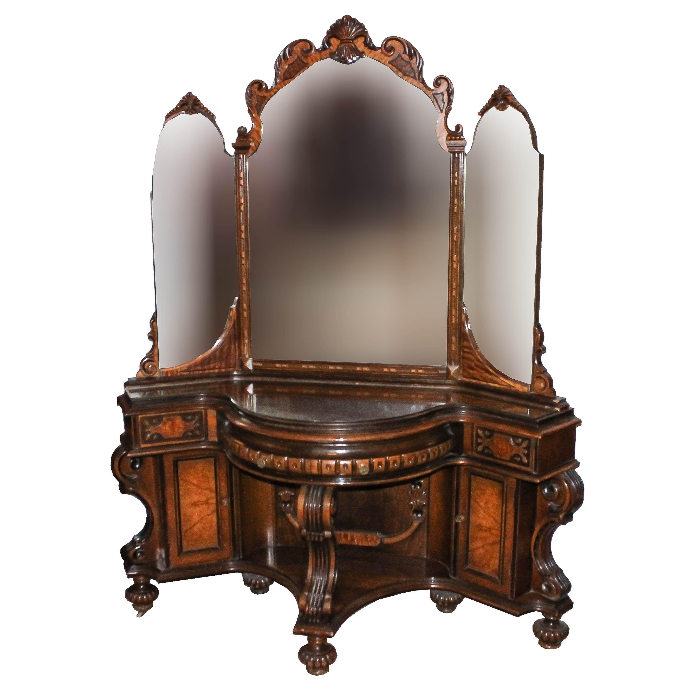 Antique Burl Wood Eastlake Style Vintage Wooden Vanity ...