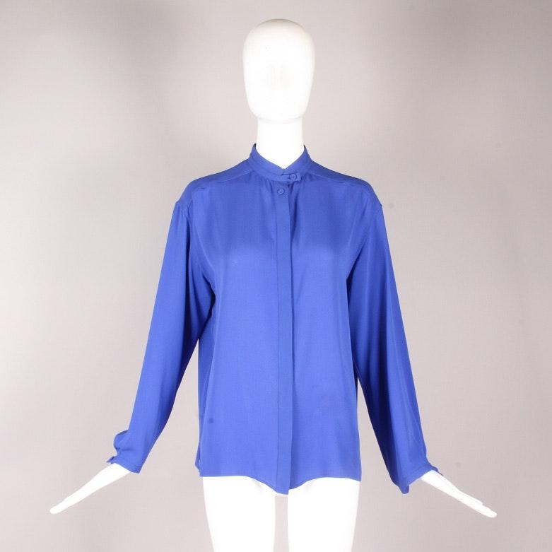 Hermès Cobalt Blue Silk Blouse