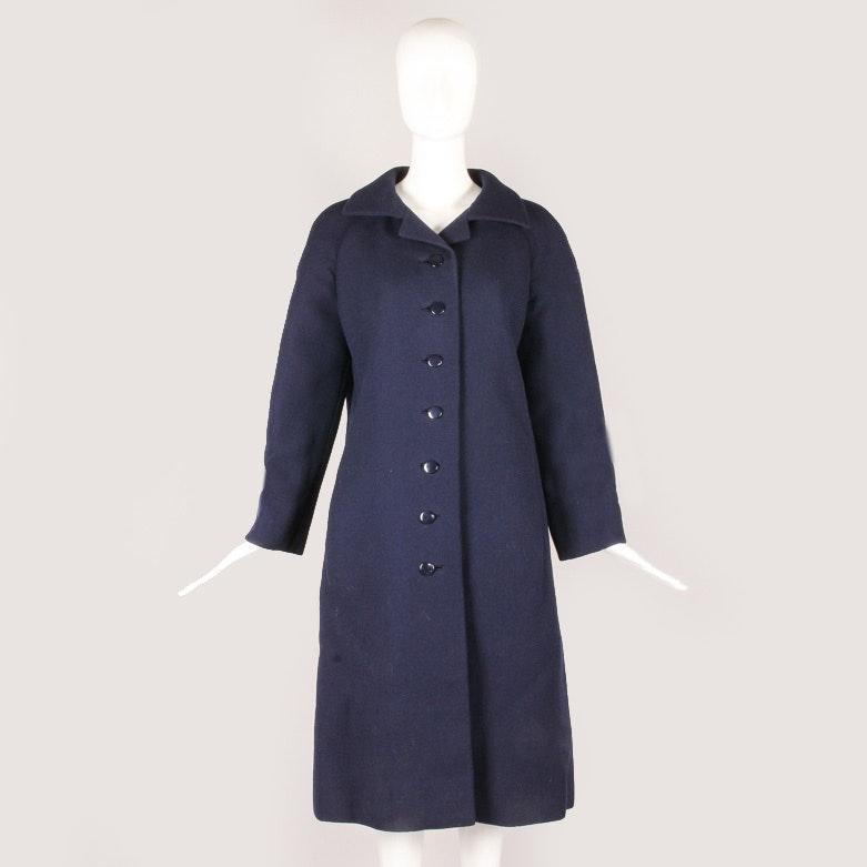 Vintage Pauline Trigere Navy Wool Coat