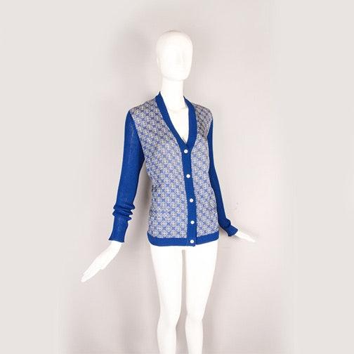 1970s Hermès Printed Silk and Knit Cardigan
