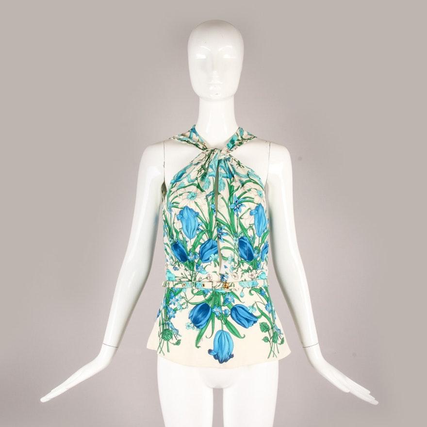 bf24d2fda Gucci Floral Print Silk Halter Top : EBTH