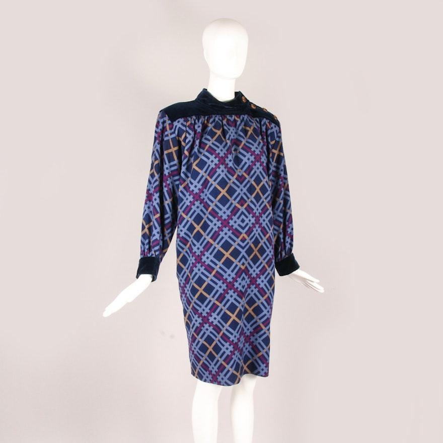 b26d8e12ff9 1970s Yves Saint Laurent Plaid Wool and Velvet Smock Dress : EBTH