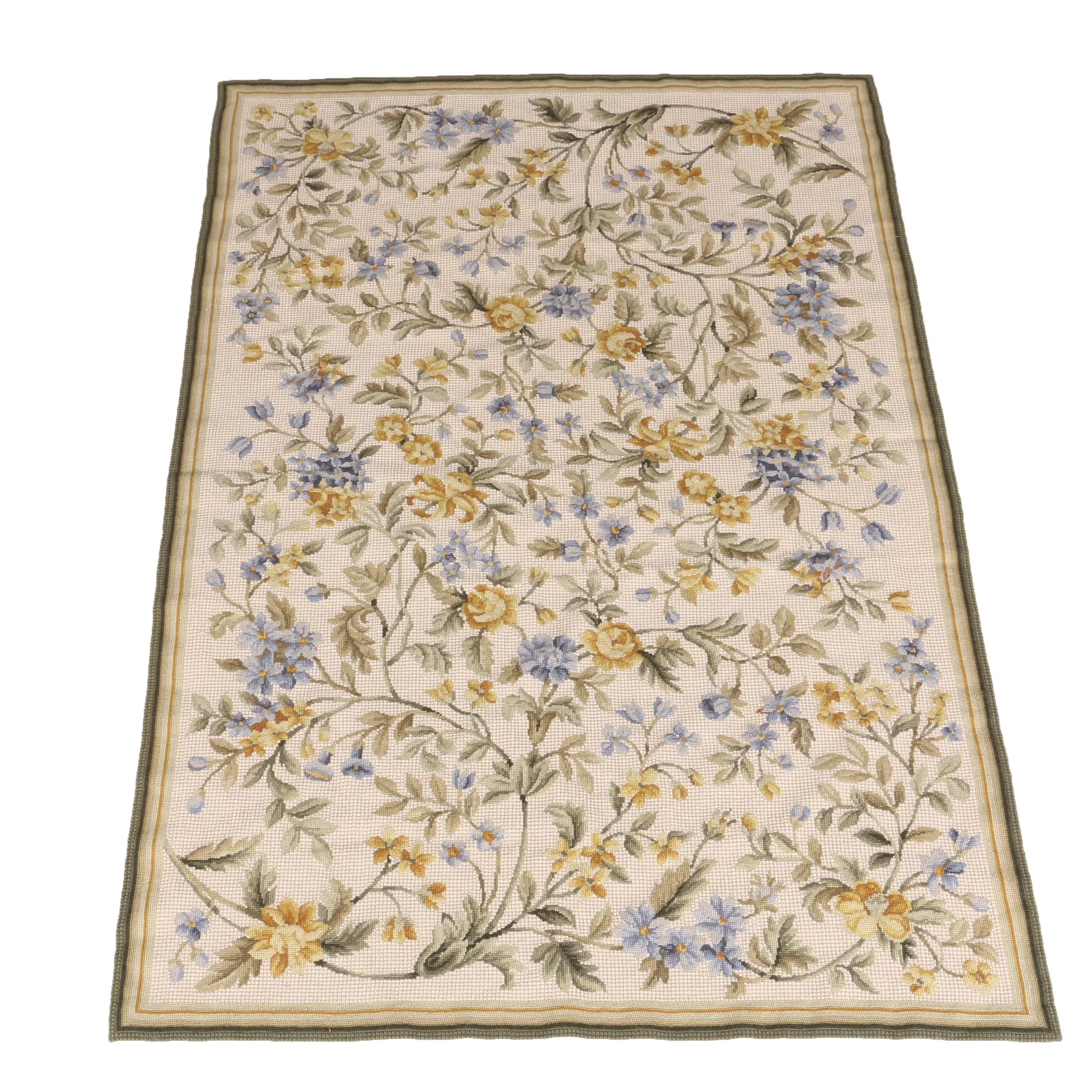 Needlepoint Floral Area Rug