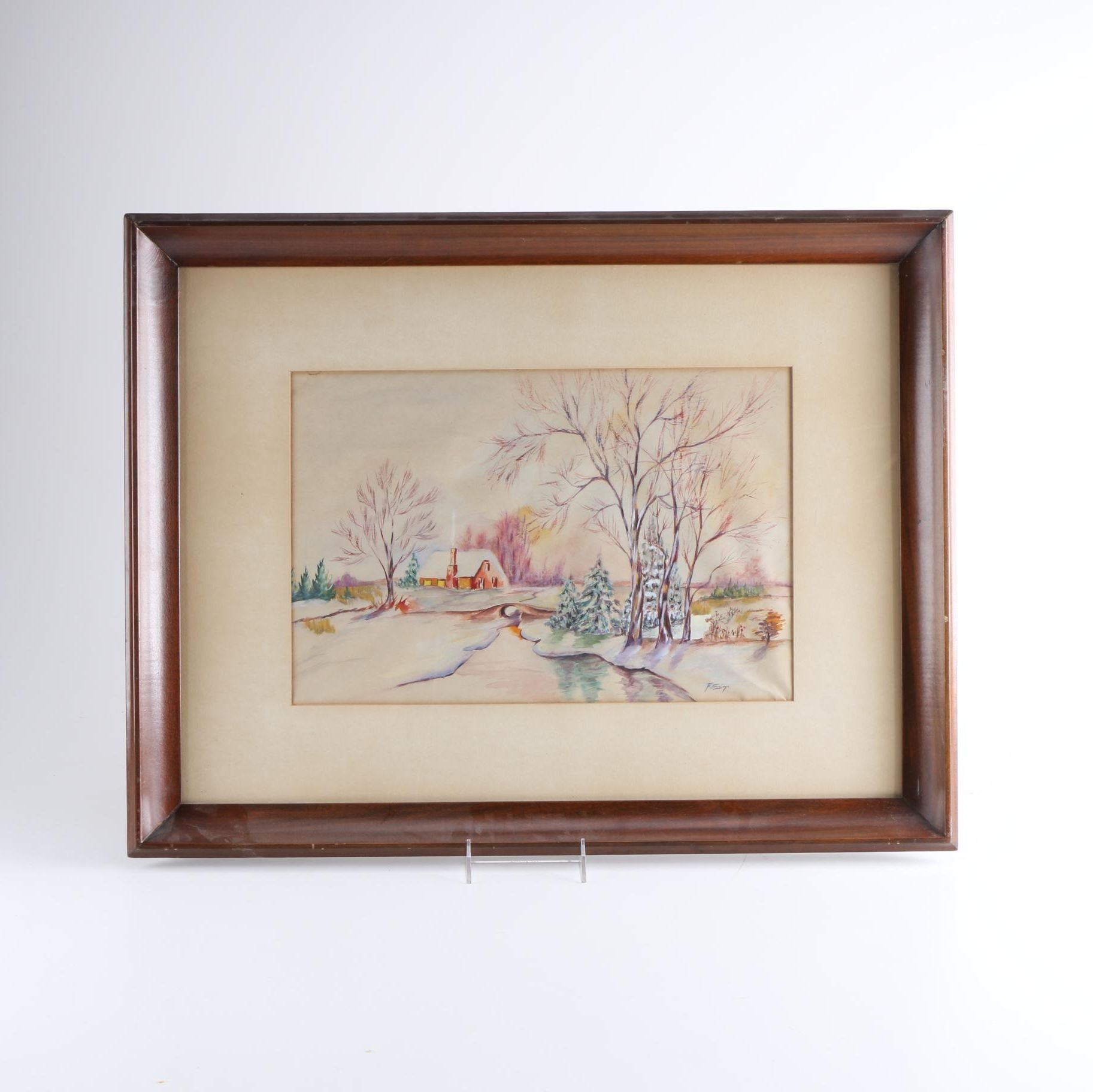F.E. Jennings Watercolor Painting on Paper of Winter Landscape