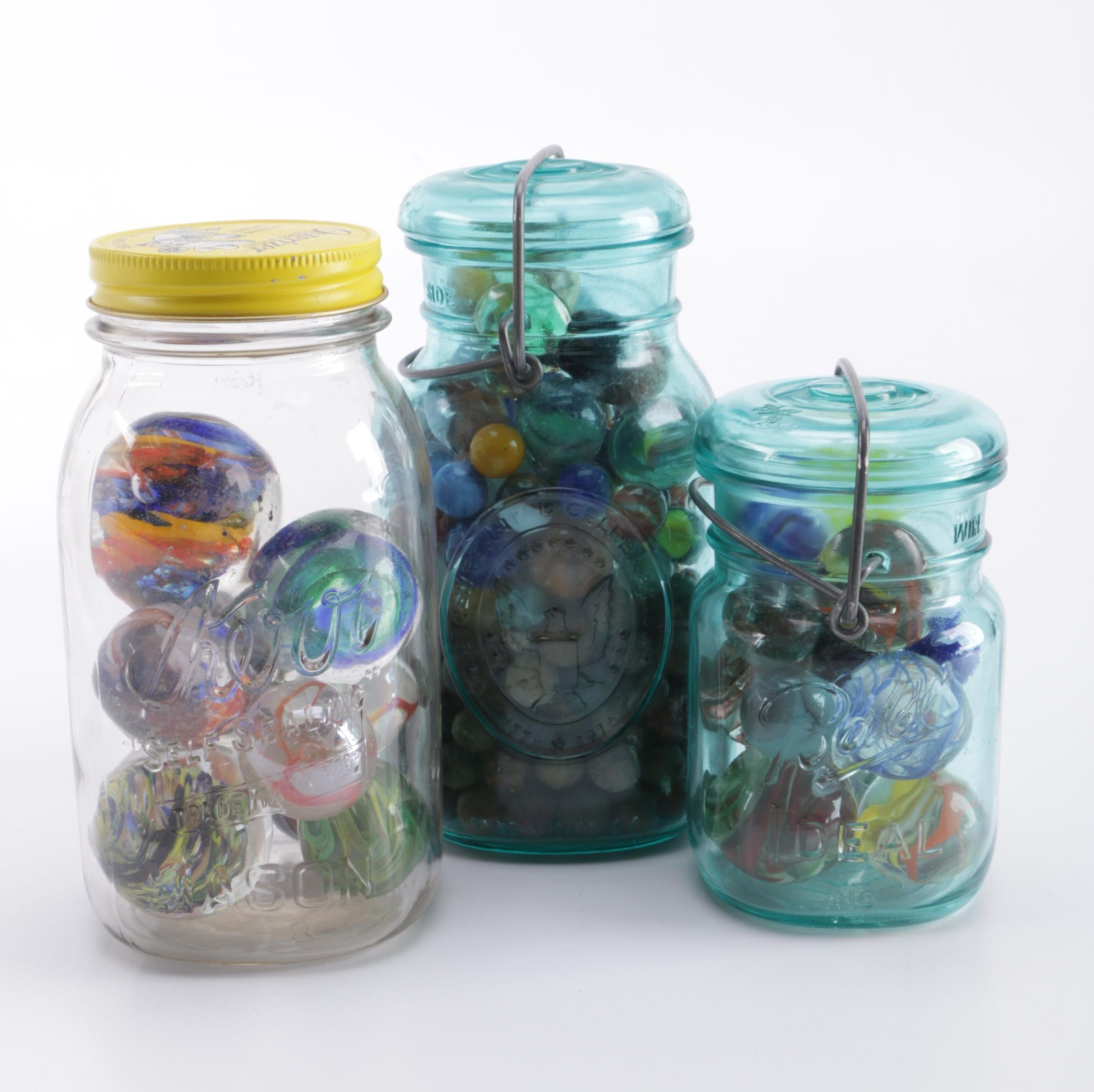 Collection of Vintage Jars and Marbles