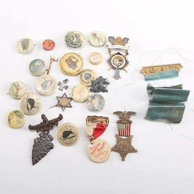 Grand Army of the Republic Antique Pinback Buttons and Medals