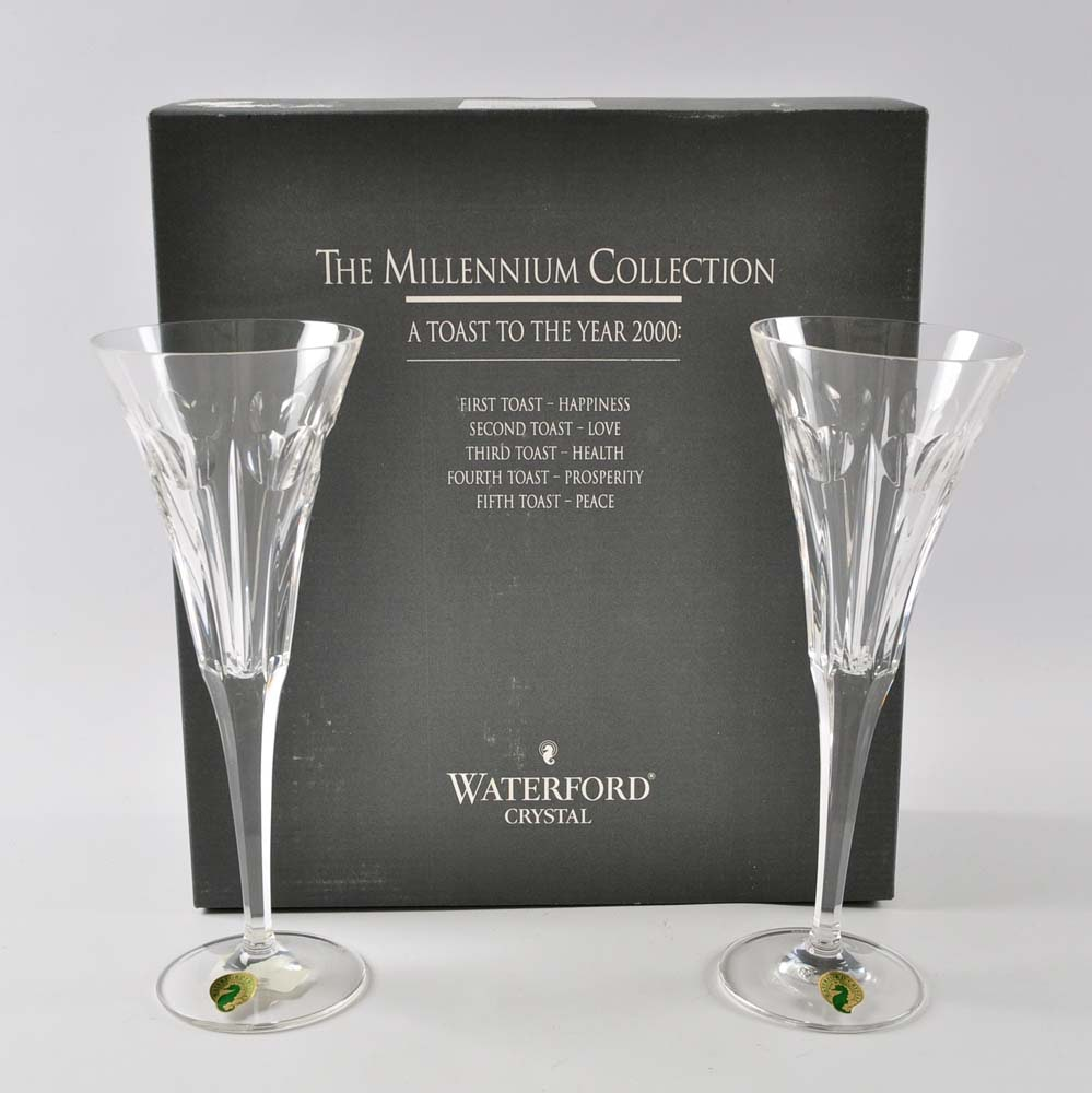 """Waterford Crystal Millennium Collection """"Love"""" Toasting Flutes"""