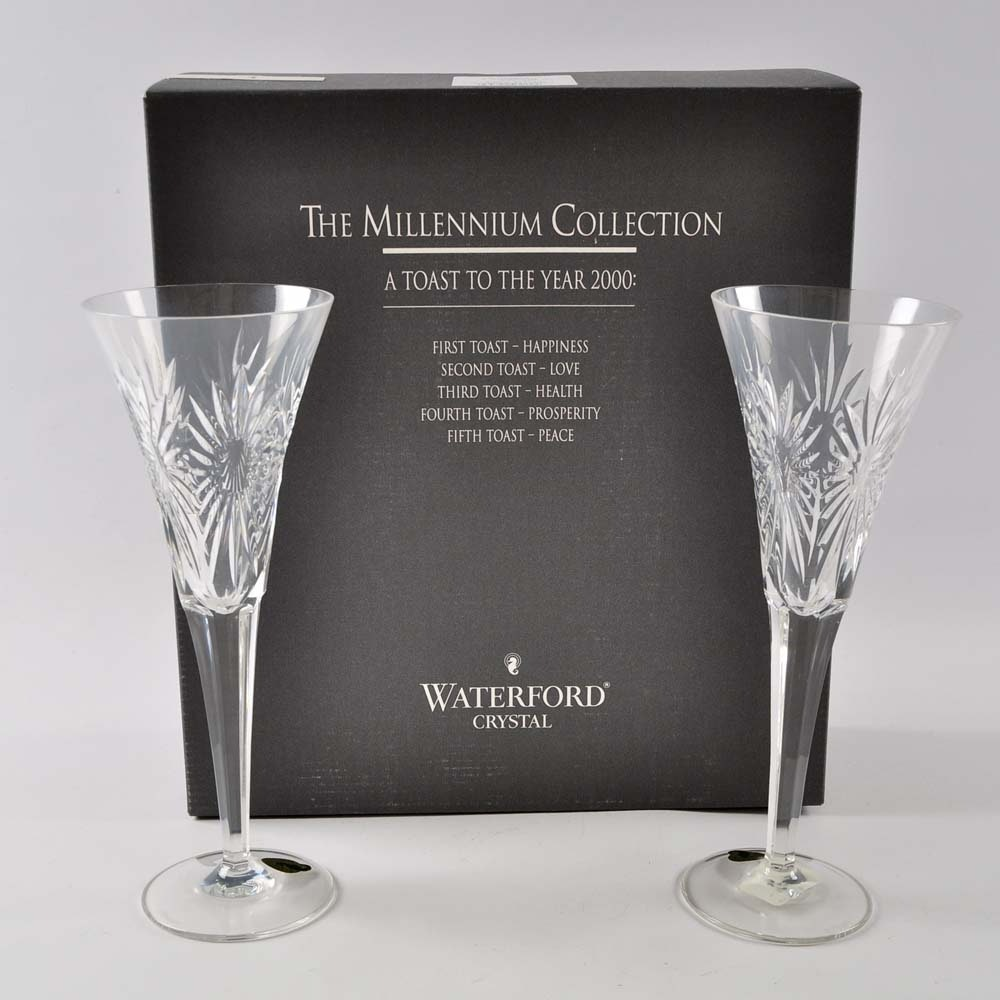 "Waterford Crystal Millennium Collection ""Health"" Toasting Flutes"