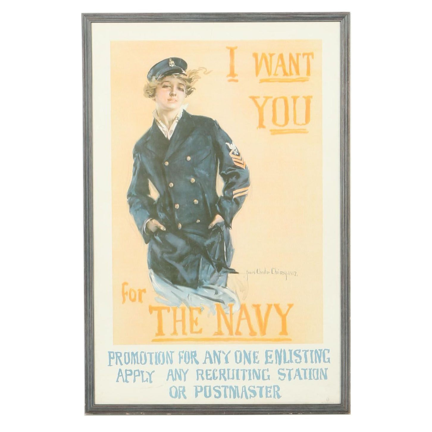 """Howard Chandler Christy Lithograph """"I Want You for The Navy"""" WWI Poster"""