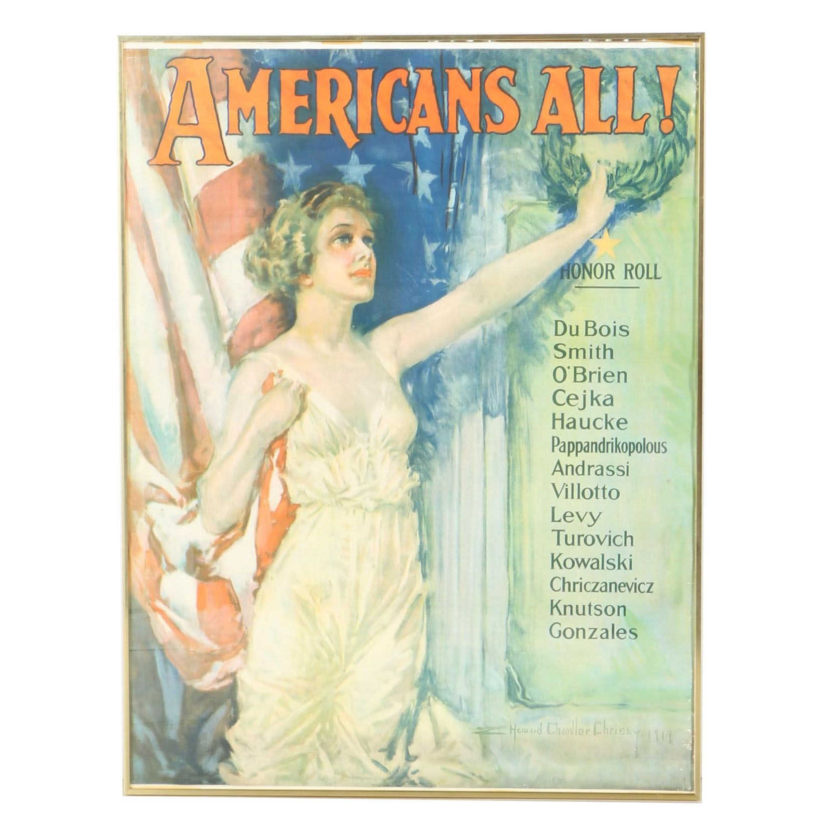 "1919 Howard Chandler Christy Half-Tone Print ""Americans All!"""