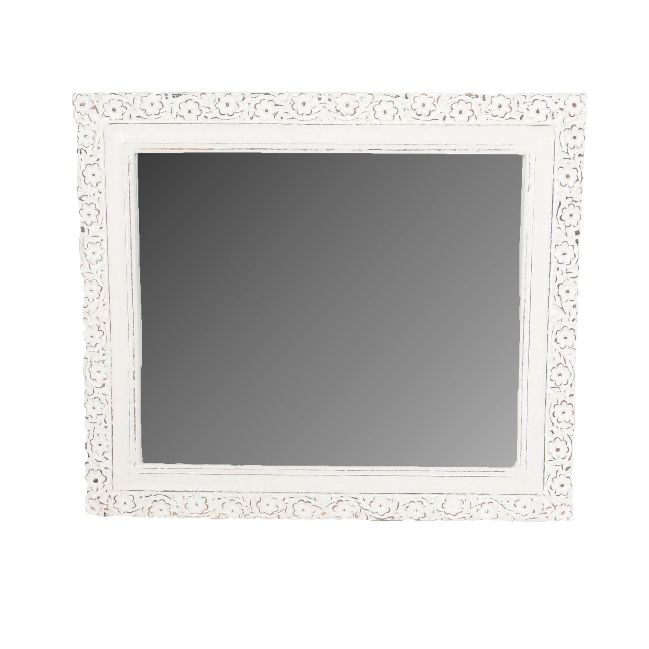 White Floral Wooden Wall Mirror