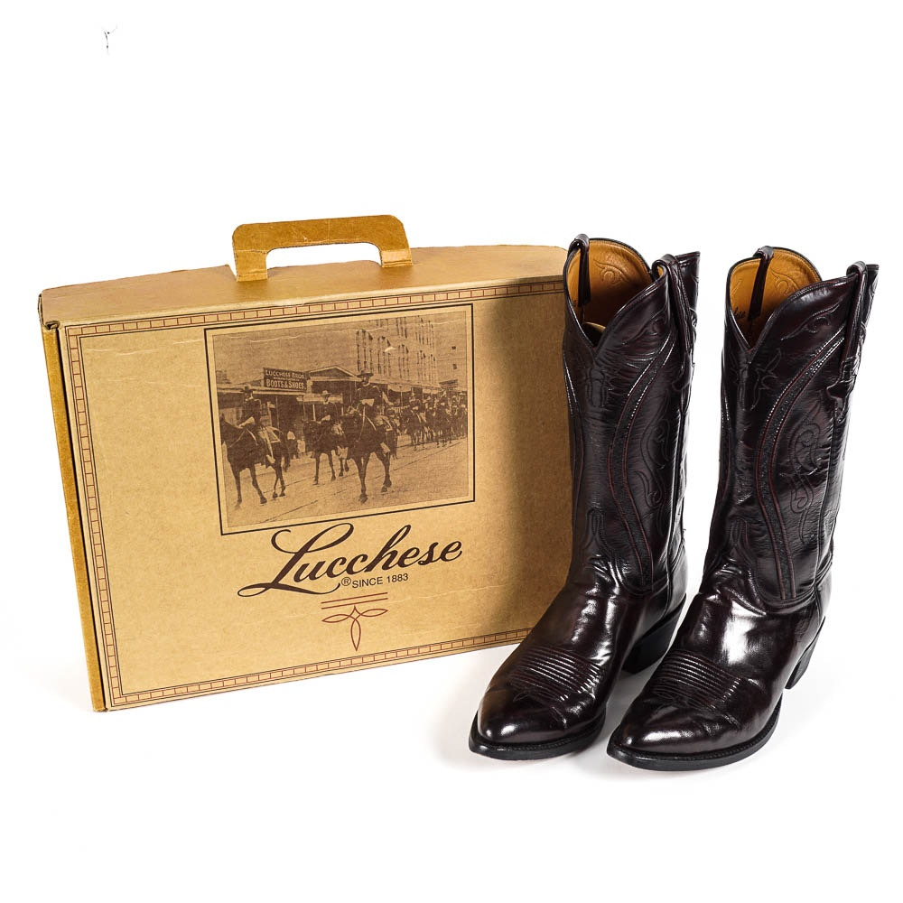 Pair of Men's Black Lucchese Cowboy Boots
