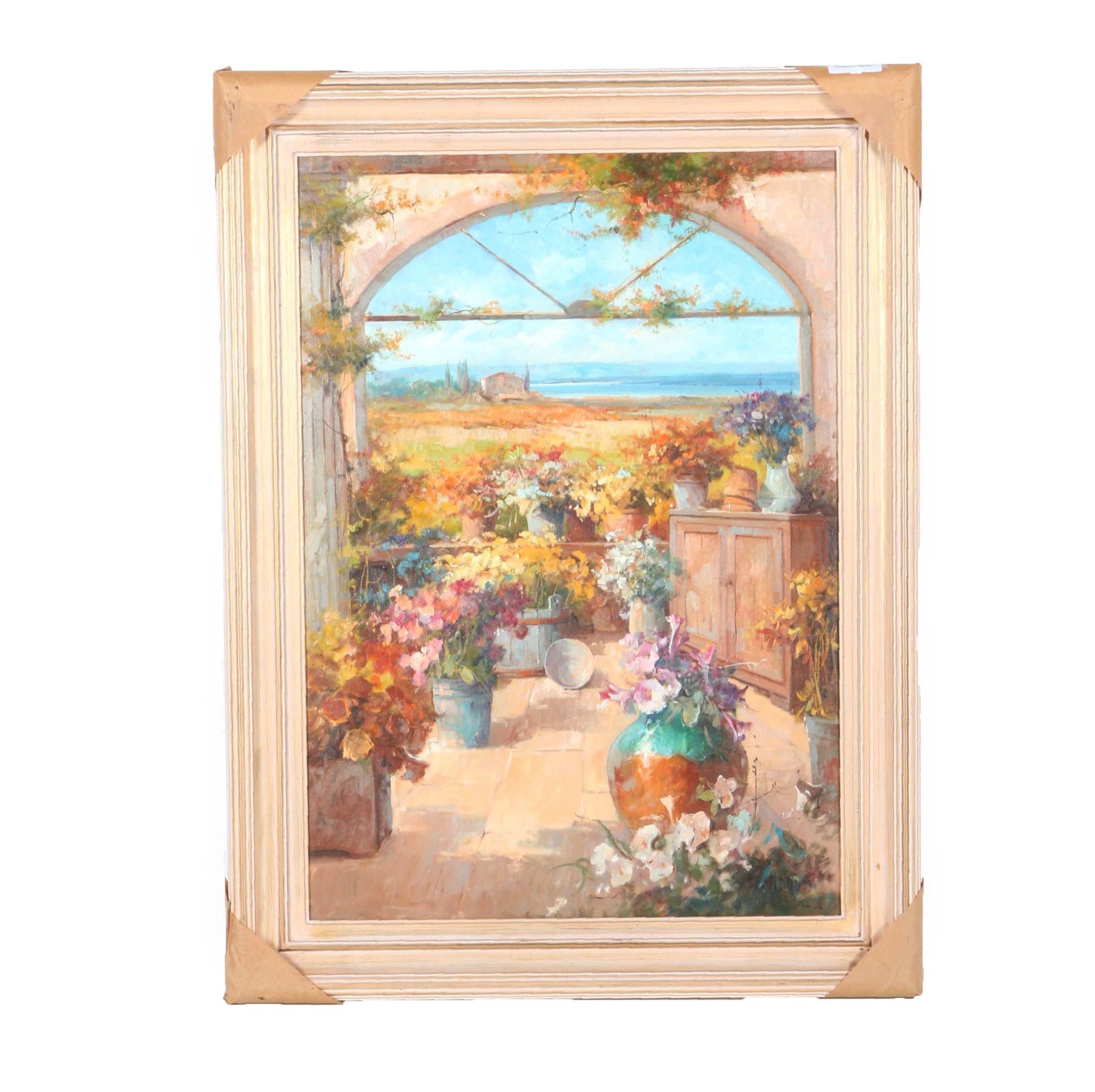"Raffandre Oil Painting on Canvas ""Garden Landscape"""