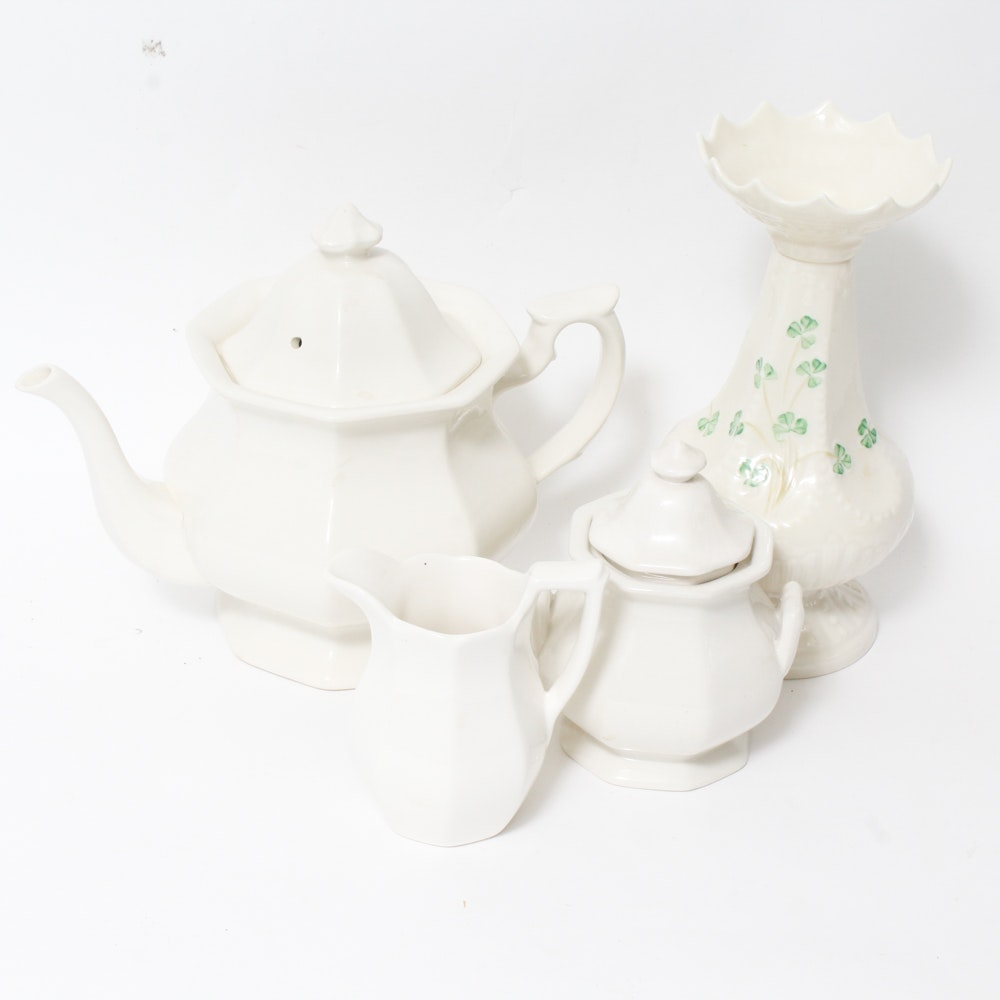 Belleek Shamrock Island Vase and Vintage English Tea Set