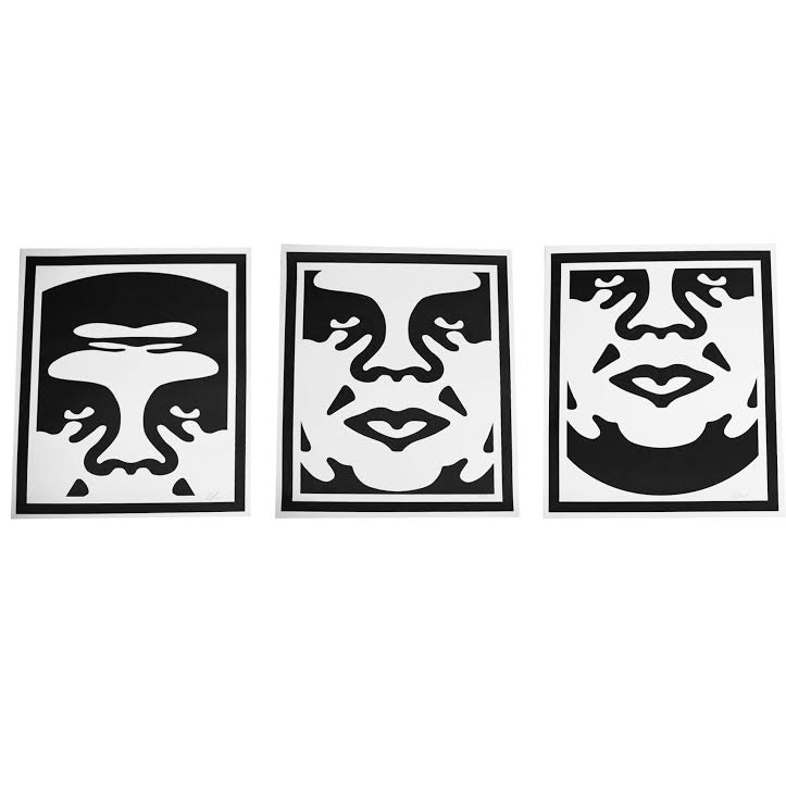 "Shepard Fairey Signed 2017 Giclée ""OBEY Three Face Collage"""