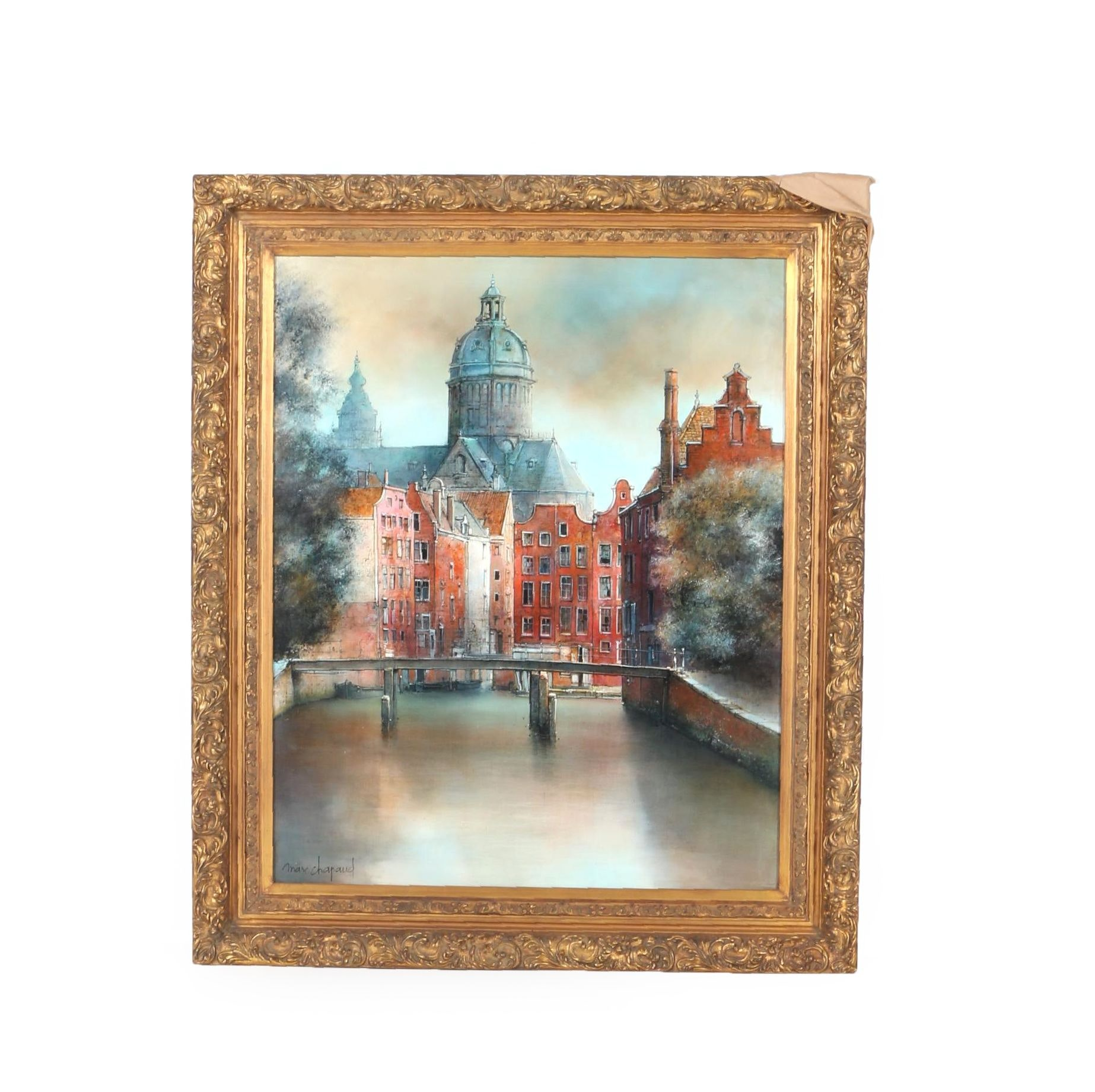 """Marc Chapaud Oil Painting on Canvas """"Canal a Amsterdam Dome de St. Nicholas"""""""