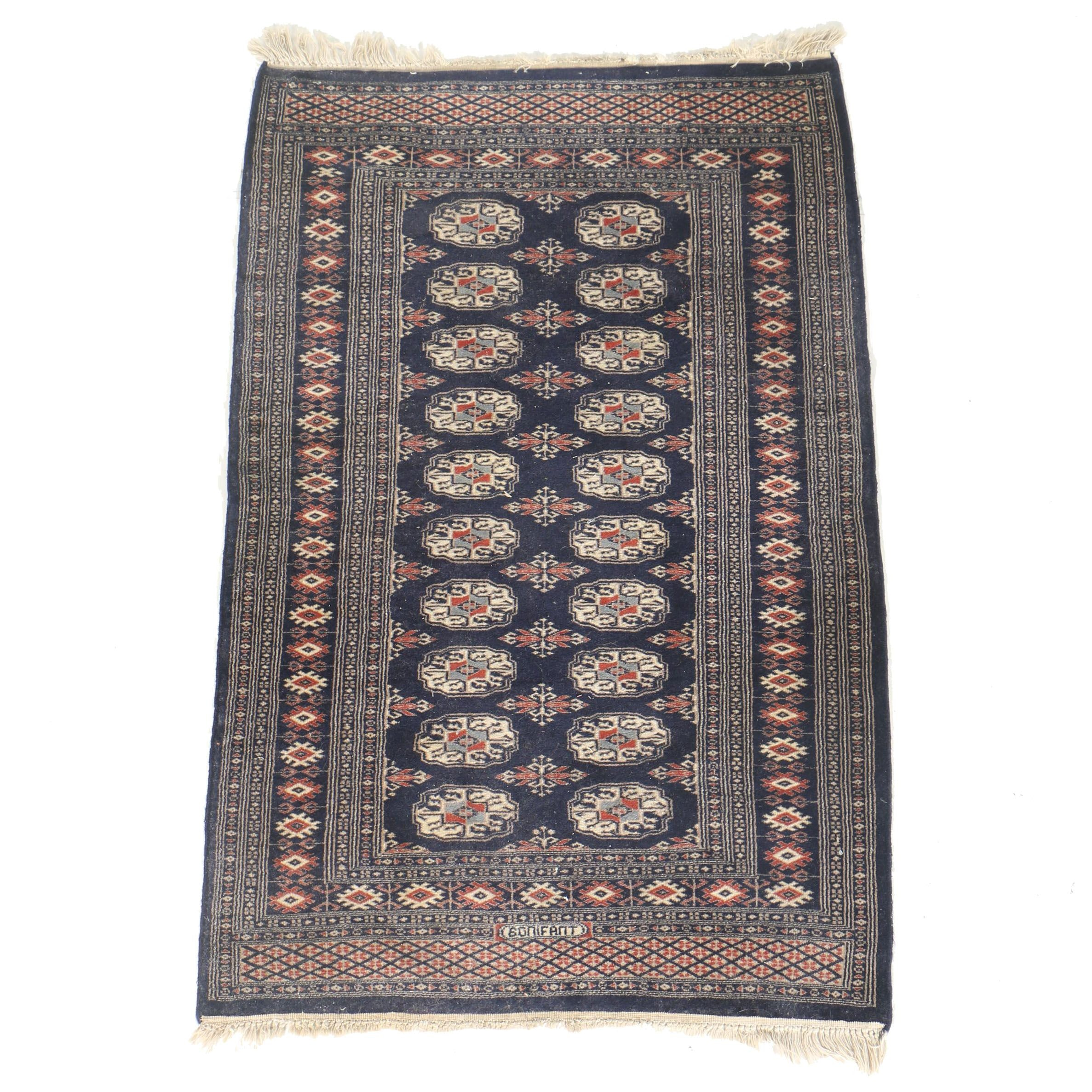 Hand-Knotted Signed Turkmen Bokhara Area Rug in Blue