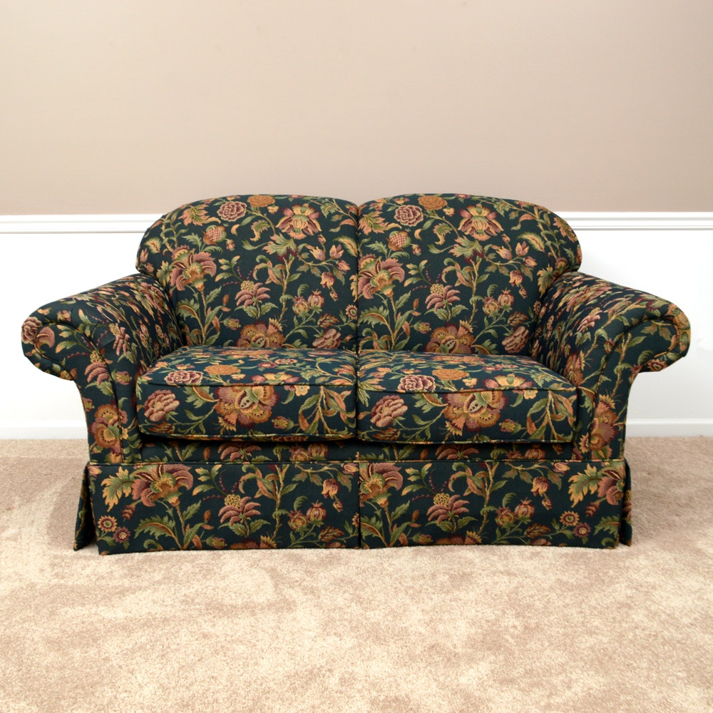 Black, Red, And Green Floral Loveseat
