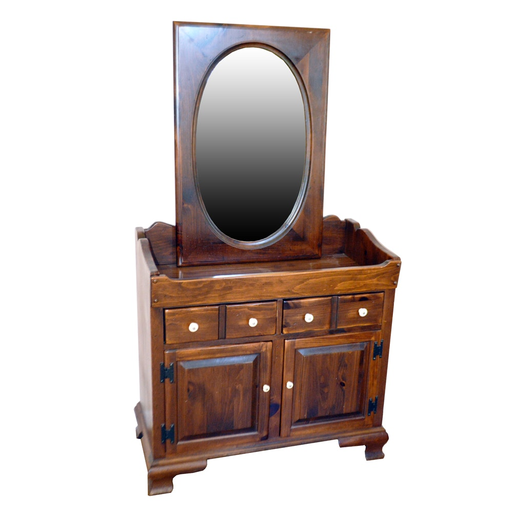 Ethan Allen Vintage Tavern Dry Sink and Framed Wall Mirror