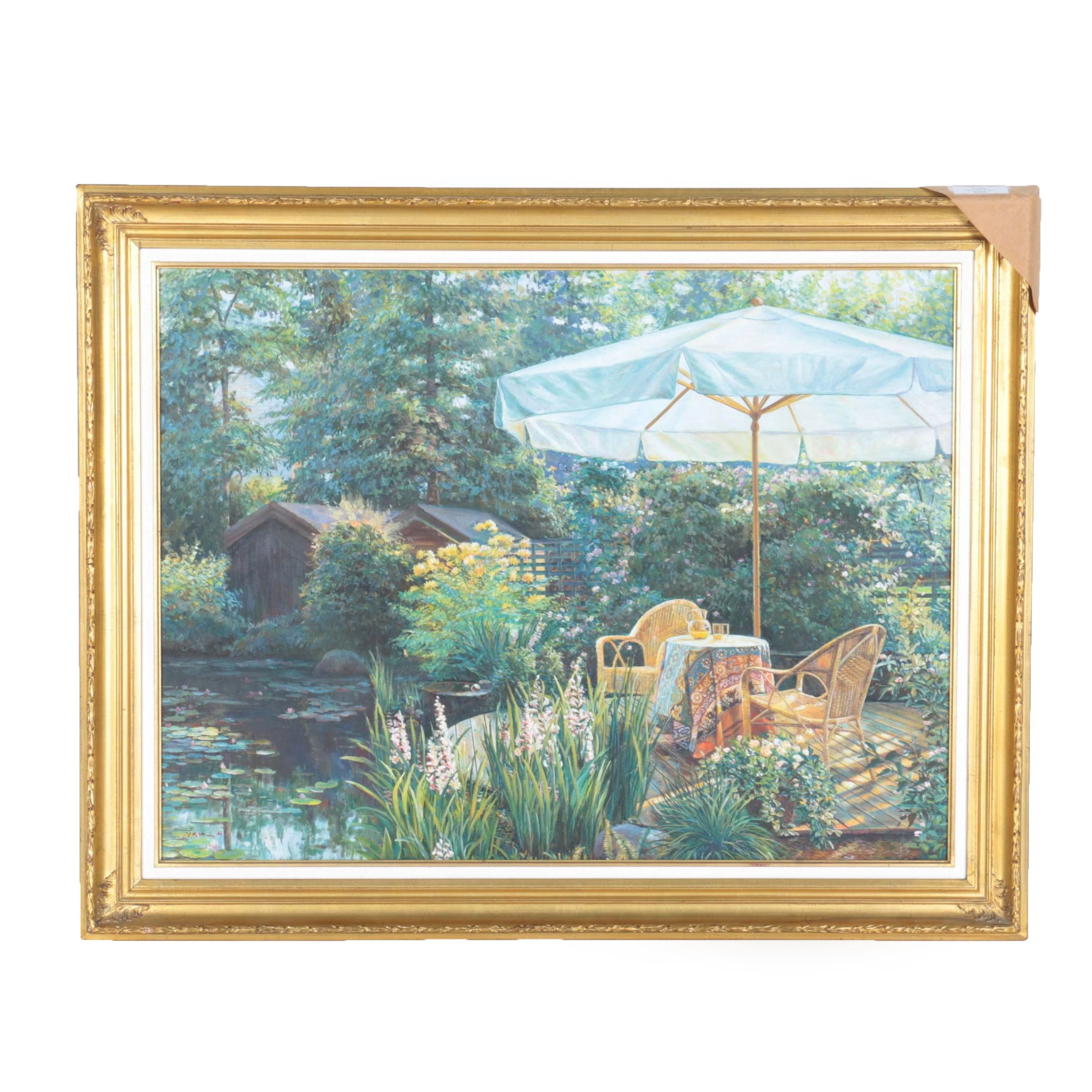 """Peter Ho Oil on Canvas """"Patio With Umbrella"""""""