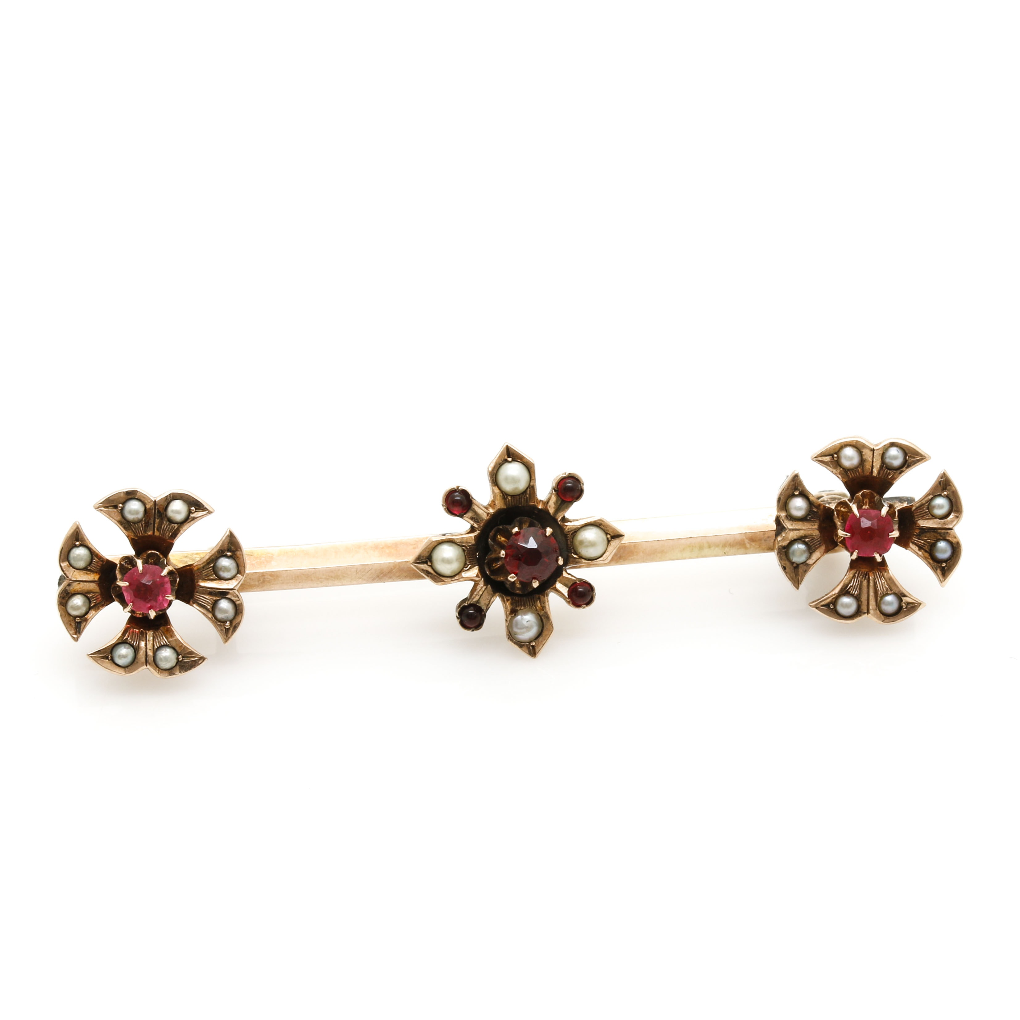 Antique Victorian 10K Yellow Gold Floral Bar Pin