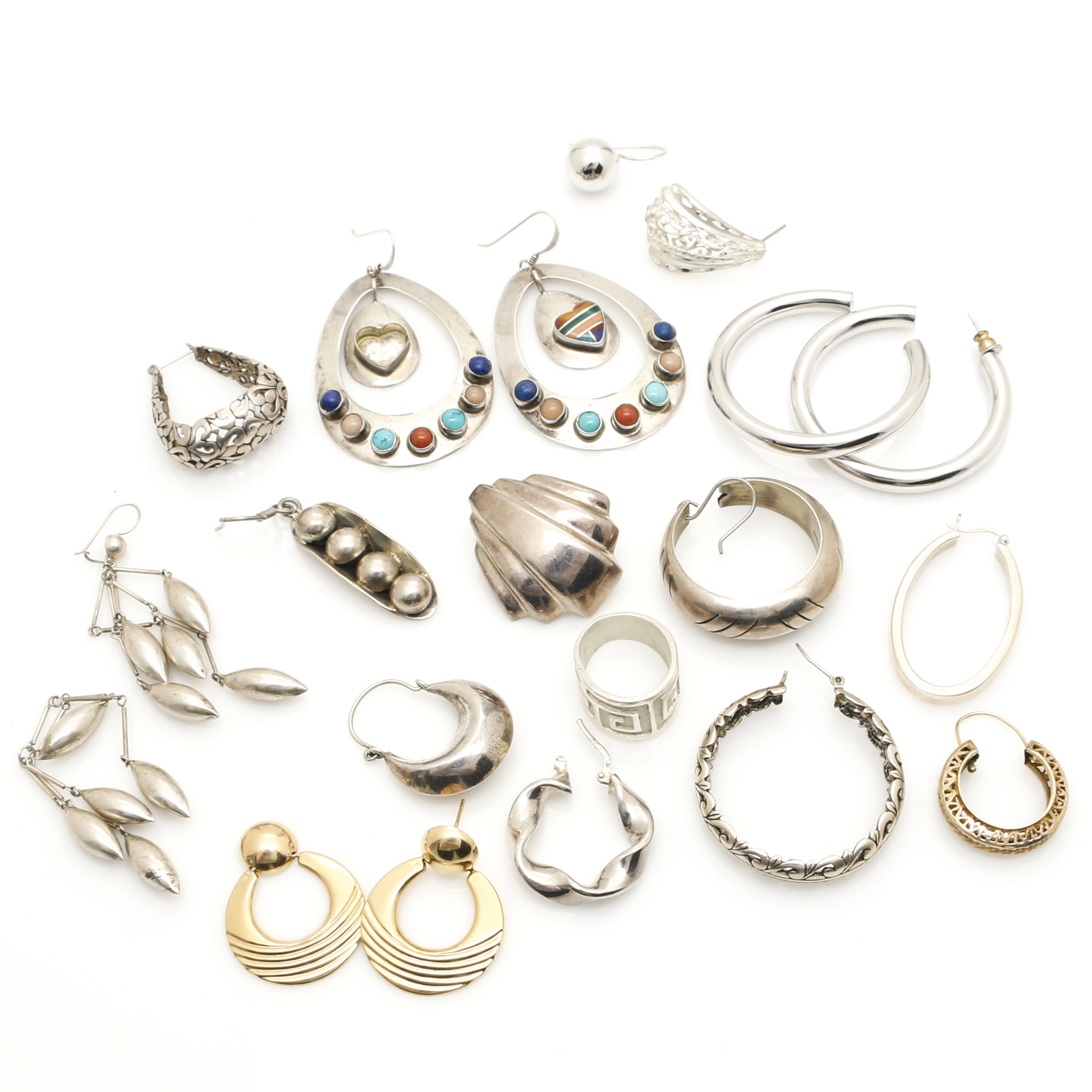 14K Yellow Gold and Sterling Silver Scrap Jewelry