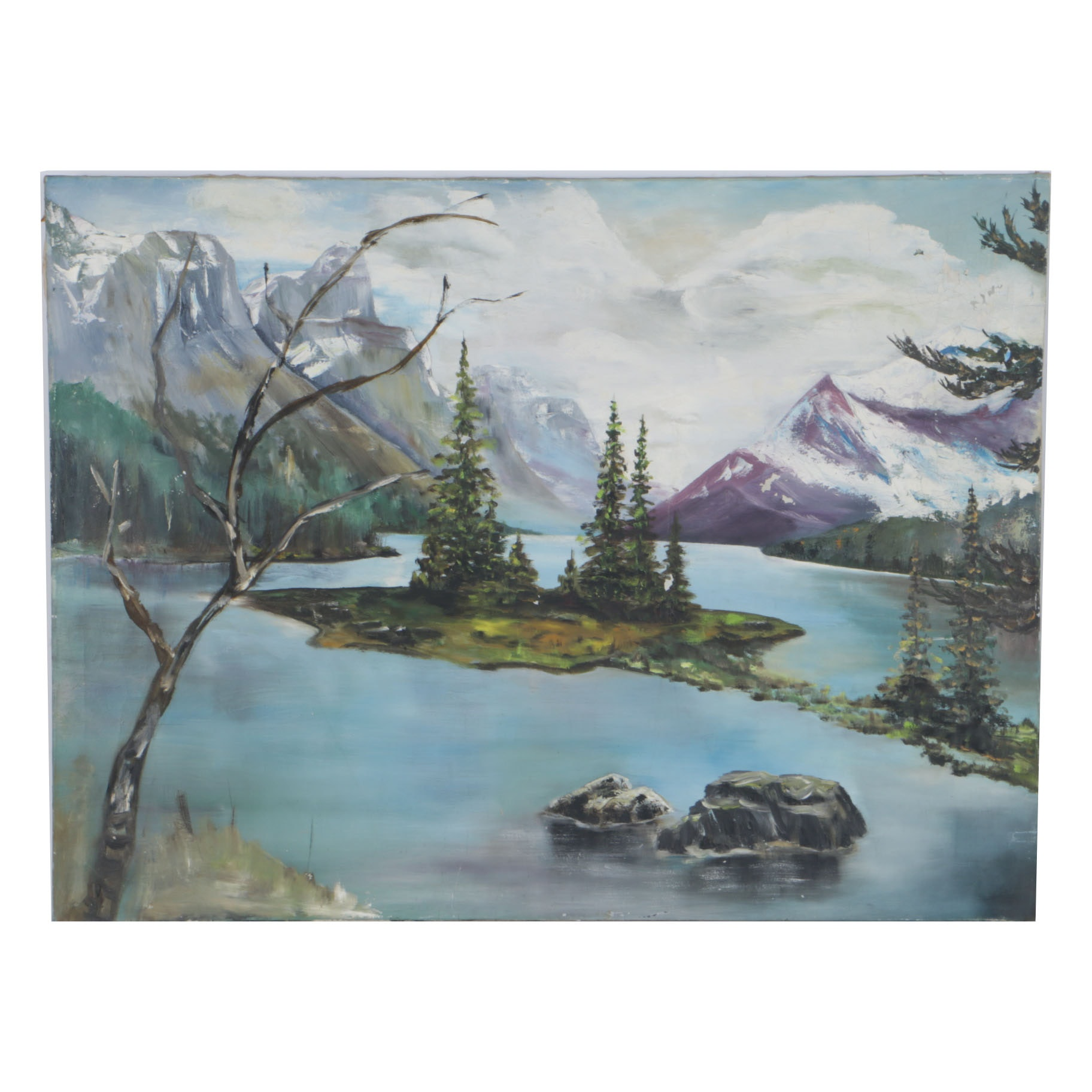 Oil Painting on Canvas of a Mountain Lake