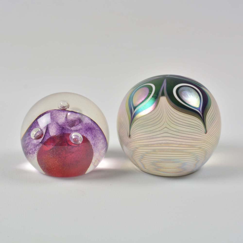 Signed Abelman Art Glass Paperweights