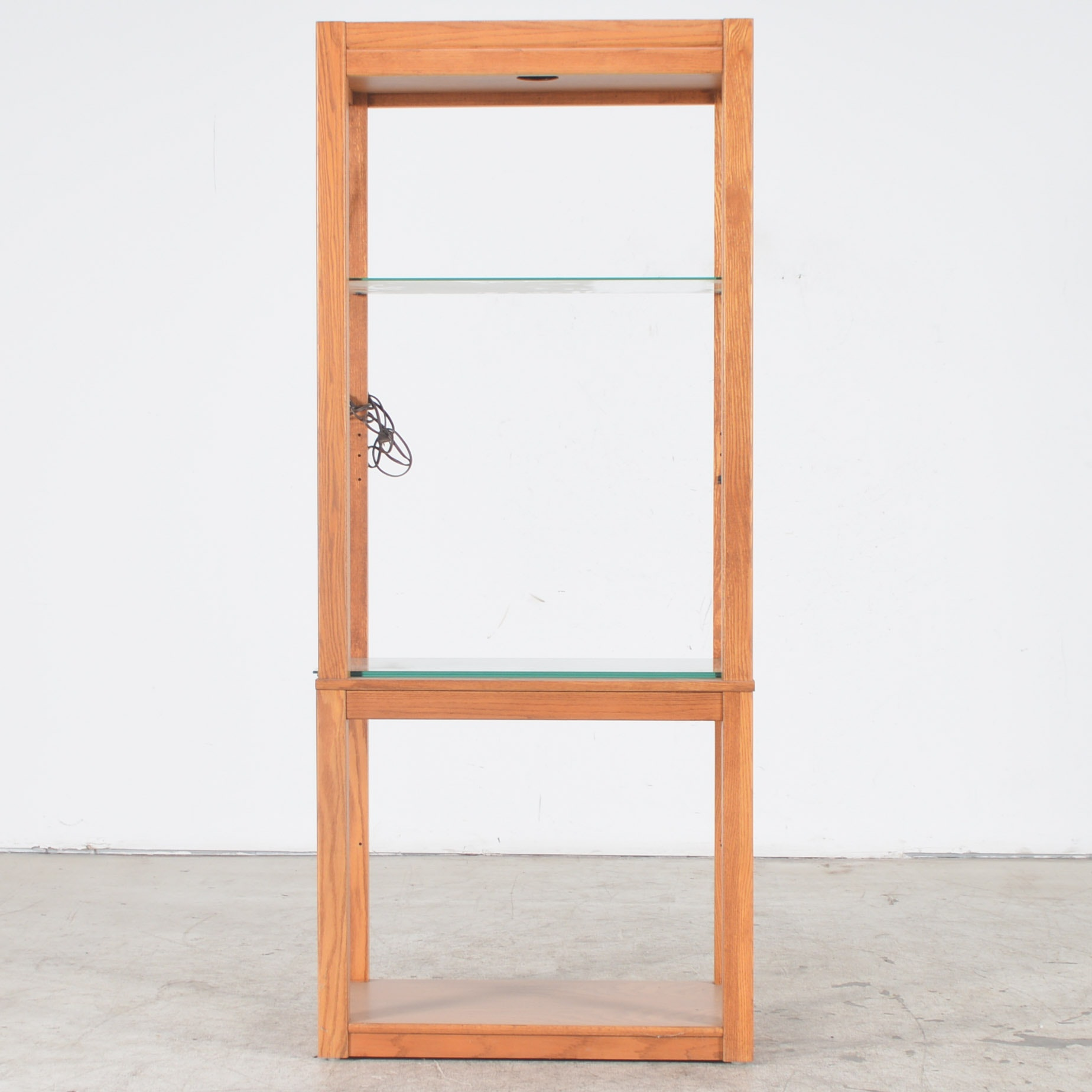 Oak and Glass Lighted Display Cabinet