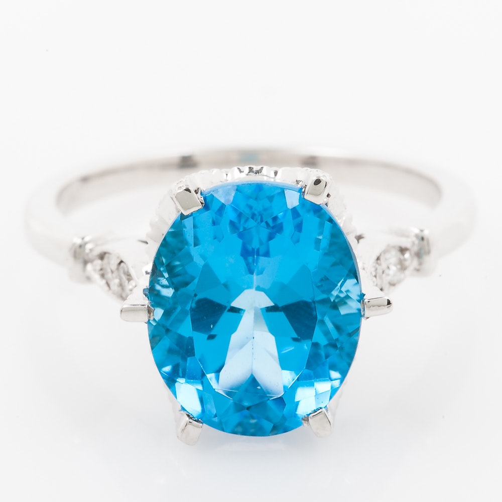 14K White Gold, Blue Topaz, and Diamond Cocktail Ring