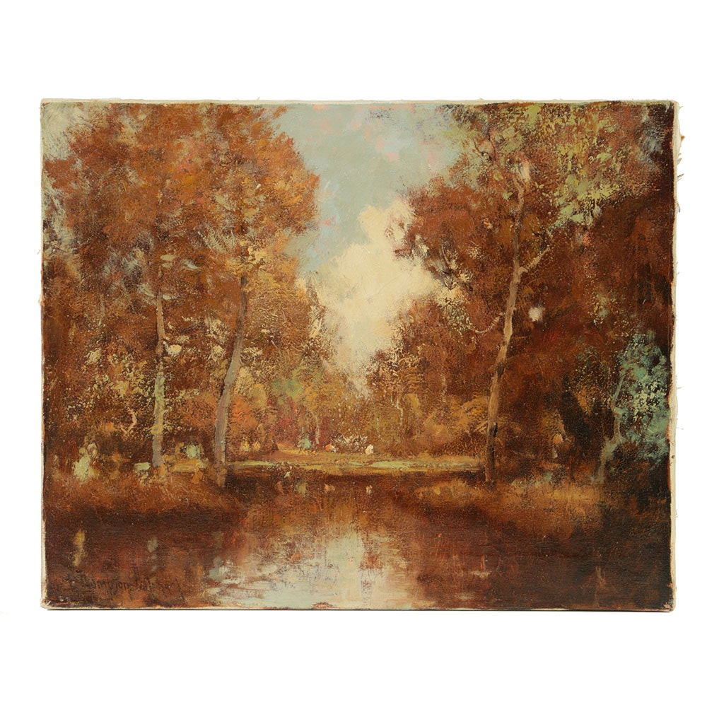 George Thompson Pritchard Oil Painting on Canvas Riverscape