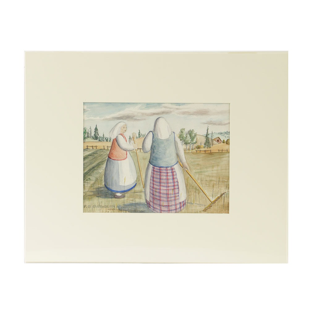 Florence Bartley Smithburn Watercolor Painting on Paper Genre Scene