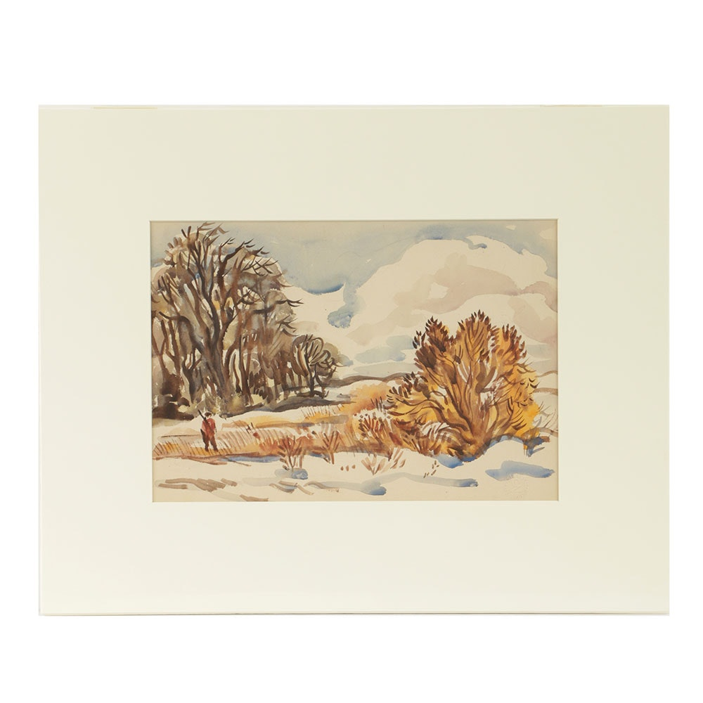 "Carl Zimmerman Watercolor Painting ""No Hunting in Our Field"""