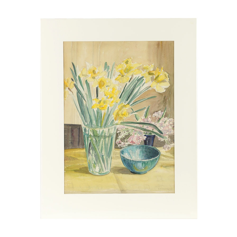 Florence Bartley Smithburn Watercolor Painting on Paper Floral Still Life