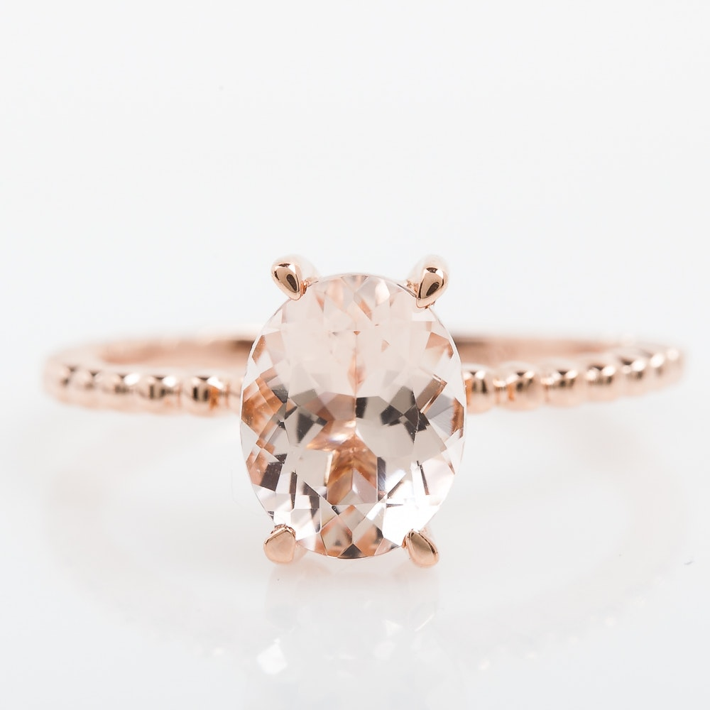 14K Rose Gold and Morganite Solitaire Ring