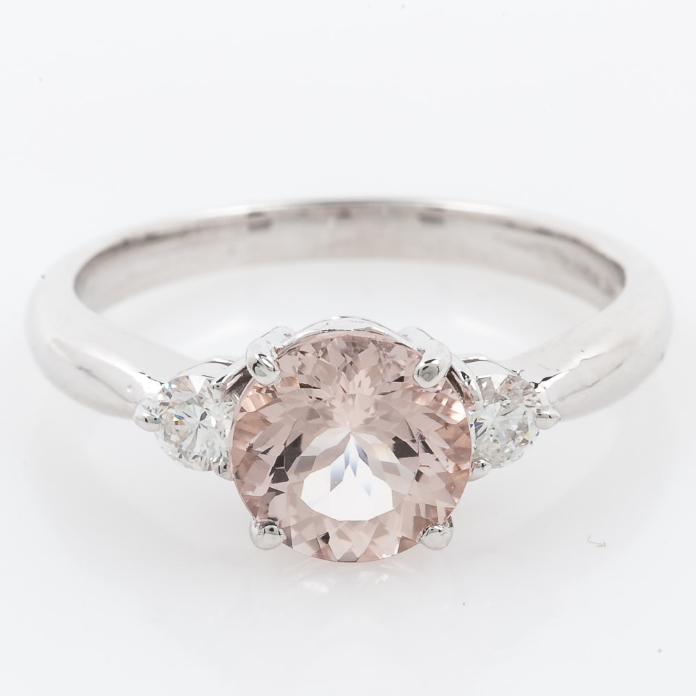 14K White Gold, Morganite, and Diamond Ring