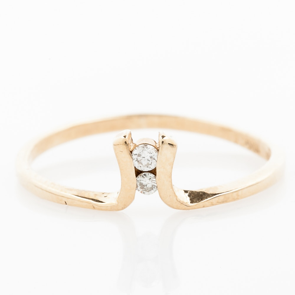 10K Yellow Gold and Two-Stone Diamond Band