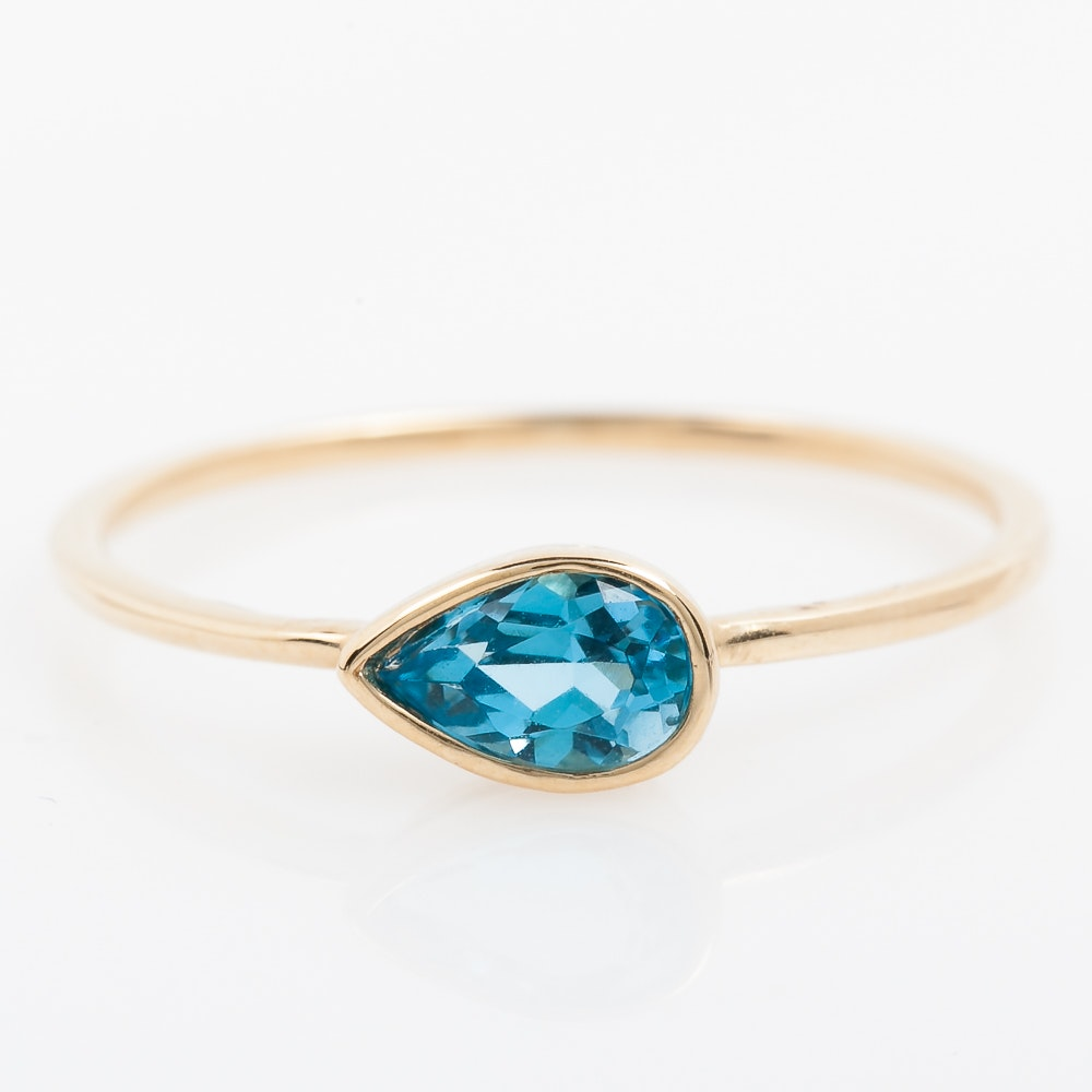14K Yellow Gold and Blue Topaz Solitaire Ring