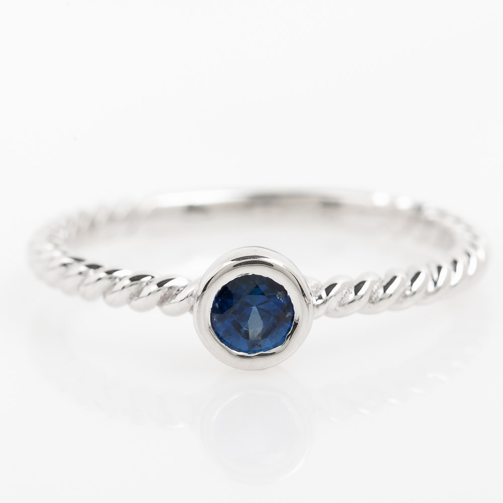 14K White Gold and Bezel Set Sapphire Solitaire Ring