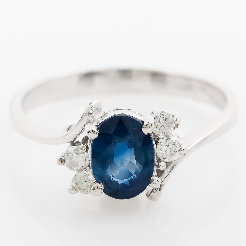 14K White Gold, Sapphire, and Diamond Bypass Ring