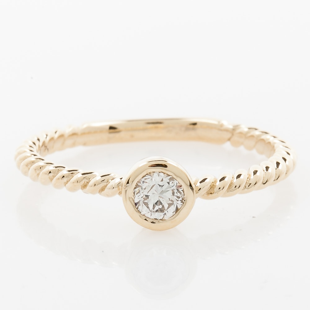 14K Yellow Gold and Bezel Set Diamond Solitaire Ring